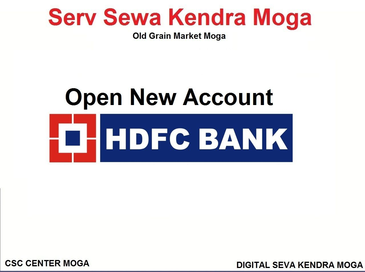 Open Hdfc Bank Account In Moga In 2020 Government Services Accounting Voter Card