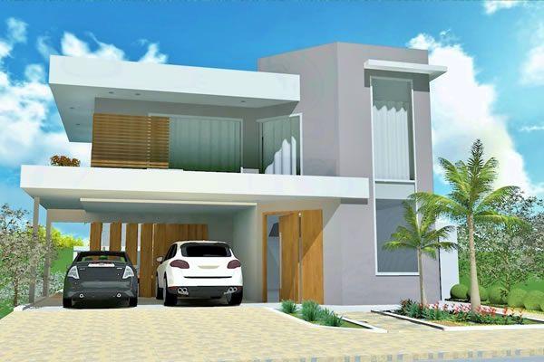 Planta de casa sobrado em l com piscina projetos de for Modelos de piscinas para casas