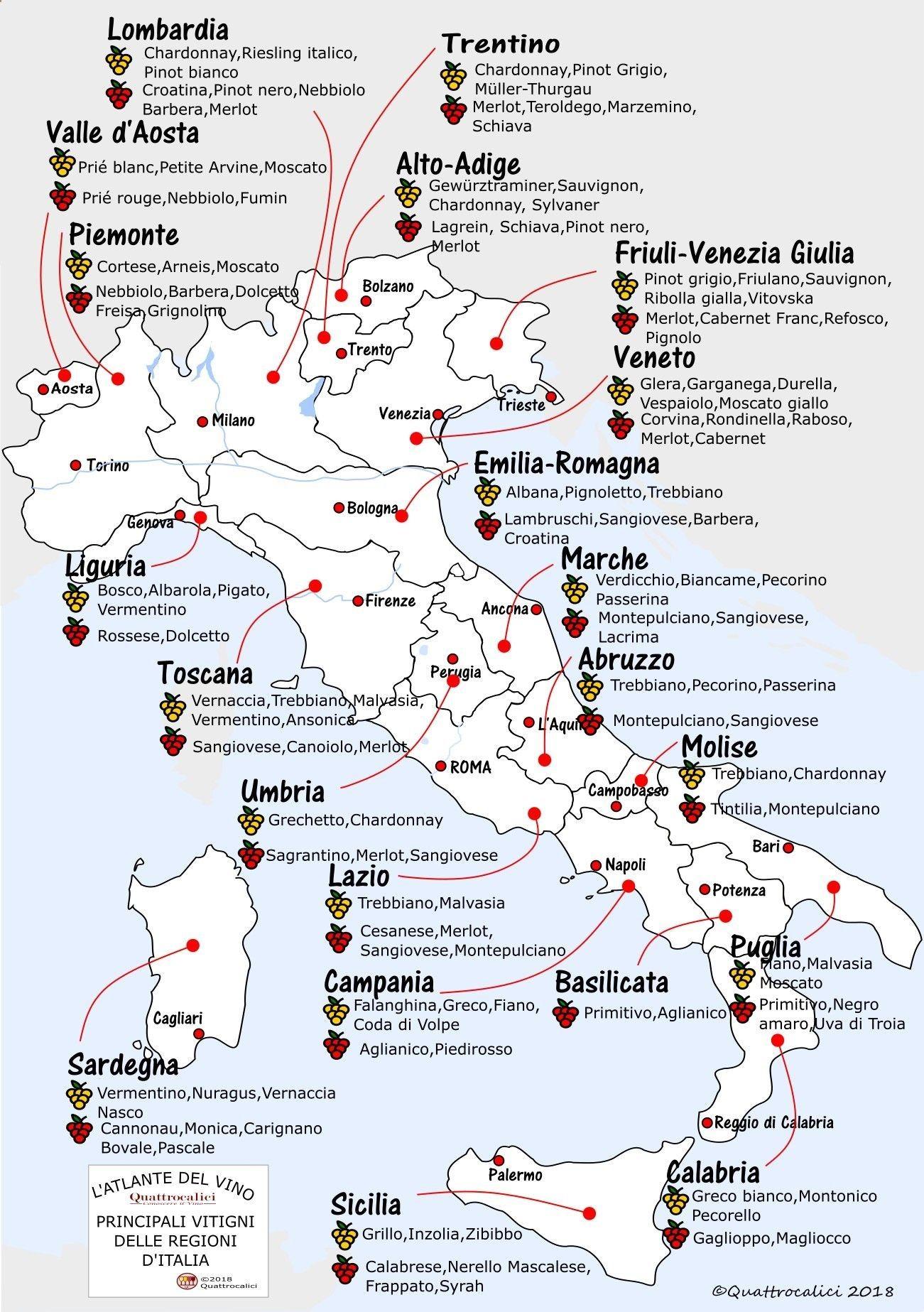 Italian Main Dishes Wine Map Italian Wine Wine Drinks