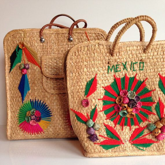 Two Large 1970s Mexico Woven Straw TotesTropical by TocaNycFashion ...