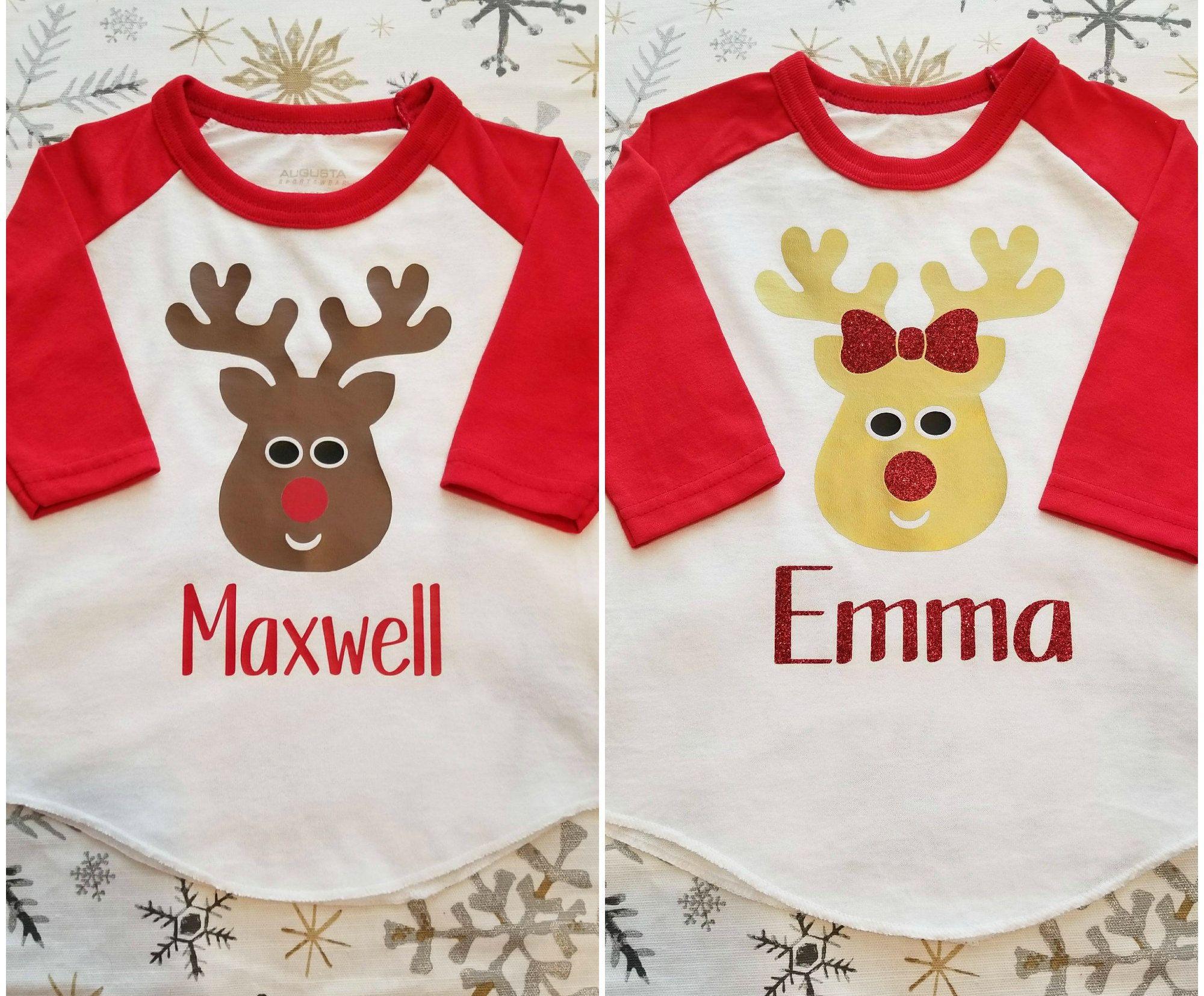 Monogram Christmas ShirtReindeer Monogram ShirtBaby Toddler Kids