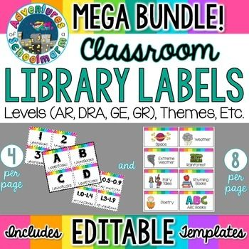 Photo of Classroom Library Labels Bundle EDITABLE