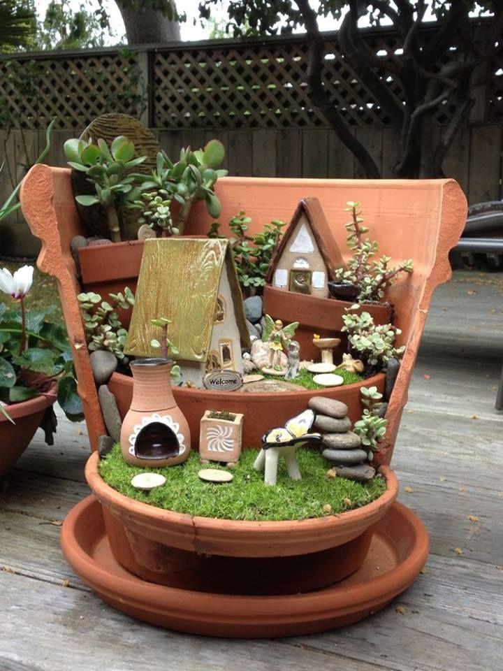 más y más manualidades: Mini jardines en macetas quebradas ...