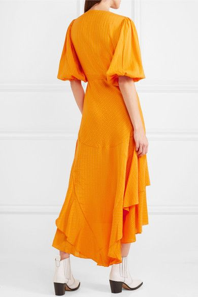 Wilkie Striped Silk And Cotton-blend Seersucker Wrap Dress - Orange Ganni Fashionable Buy Cheap Amazing Price Free Shipping For Sale Outlet Release Dates Pictures vuVU87x