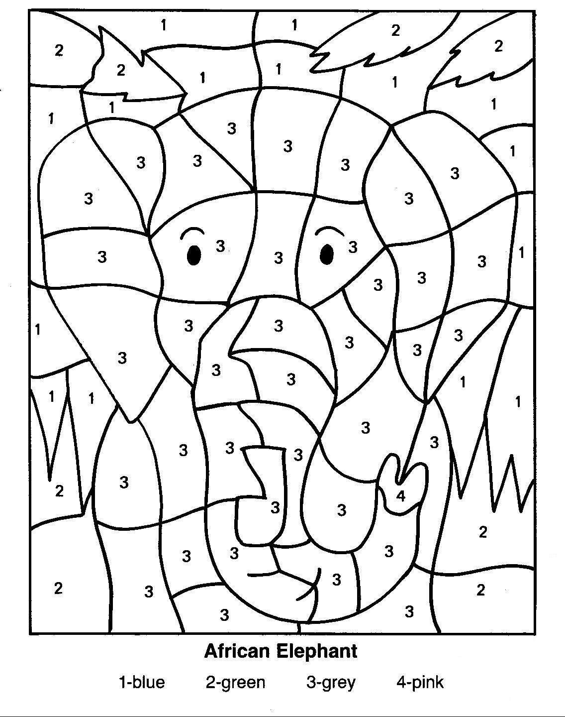 coloring pages of african animals | African Elephant Color By Number ...