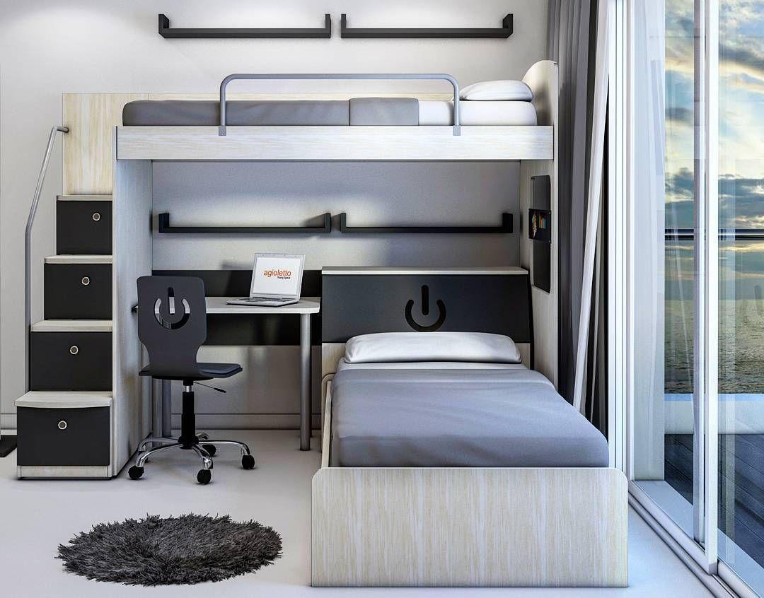 Crea tu espacio!!! #camas #cucheta #escalera #cajones #estantes ...
