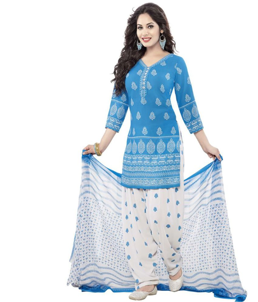 Indian Dress Material Synthetic Unstitched Kameez Patiyala Salwar with LINING