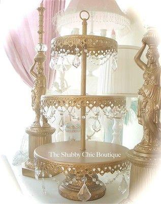 crystal prisms garlands gold 3 tier cake stand cake stands rh pinterest com