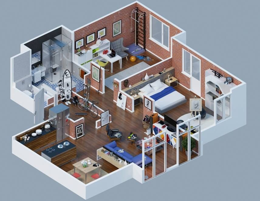Space Saving 3D Floor Plans | Apartment layout, 3d house ...