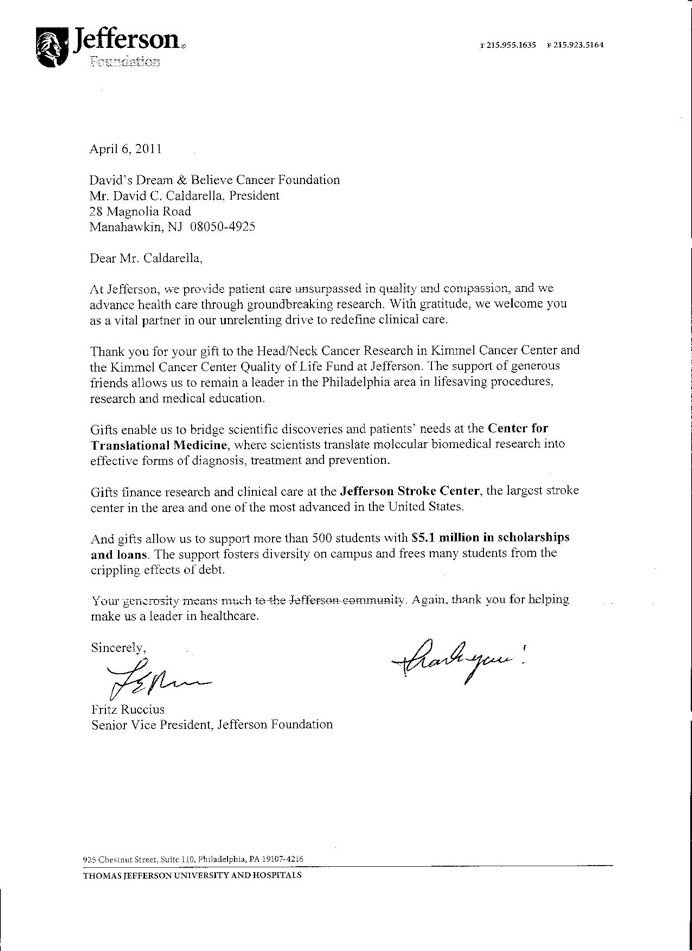 senior vice president jefferson foundation thank you letter - thank you letter to doctor