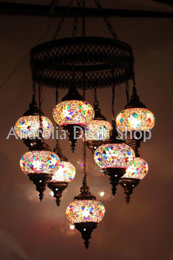 9 Stück Mosaik Lampe Türkische Lampe Ottoman Beleuchtung