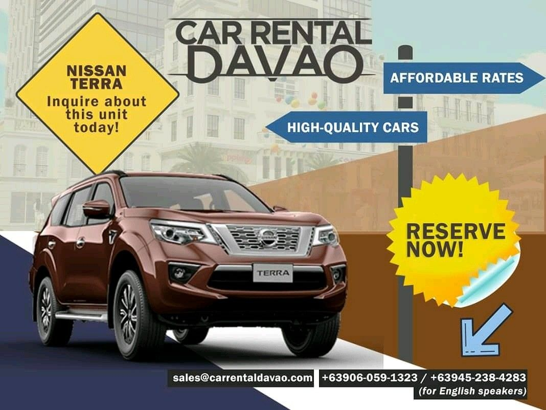 Looking for a car model that offers immersive entertainment experience? Our Nissan Terra is the perfect unit for you!   To inquire about this, choose below: 🚘 +63906-059-1323 or +63945-238-4283 (for English speakers)  🚘 sales@carrentaldavao.com  #carrentaldavao #carrental #carrentalph #carrentalphilippines #rentalcarph #rentalcar #rentacar #davaorental #davaorentals #carforrent #davao #davaocity #davaotravel #davaotrip #whenindavao #nissan #nissanterra #nissanterraforrent
