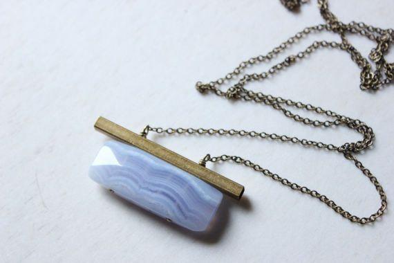 collar de ágata de encaje azul collar geométrico declaración