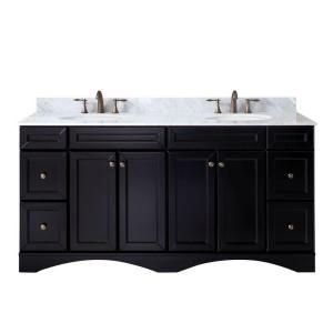 Talisa 71.7 in. W x 22 in. D Vanity in Espresso with Marble Vanity Top in White with White Basin