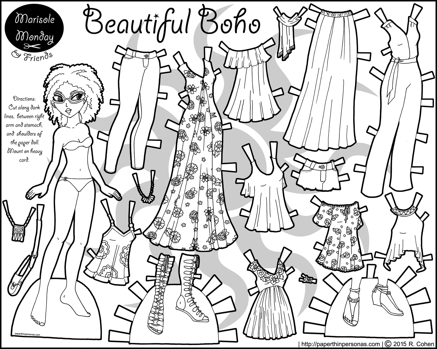 a printable coloring page of a black paper doll with a 16 piece contemporary boho wardrobe. Black Bedroom Furniture Sets. Home Design Ideas
