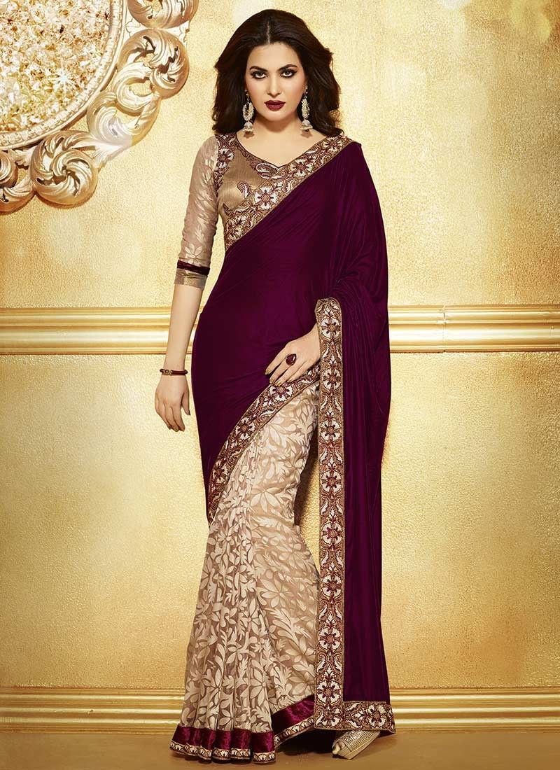 3a6f313c8522f Heavy Net Brasso Embroidery Saree For Wedding