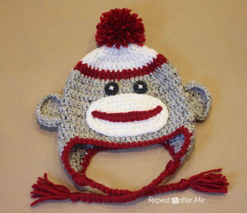 Crochet Sock Monkey Hat Pattern- use this ear flap pattern for hats ...