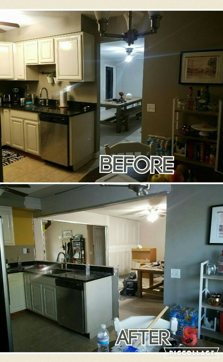 Before And After Removal Of Two Load Bearing Walls Creating Open Floorplan Old House Makeover