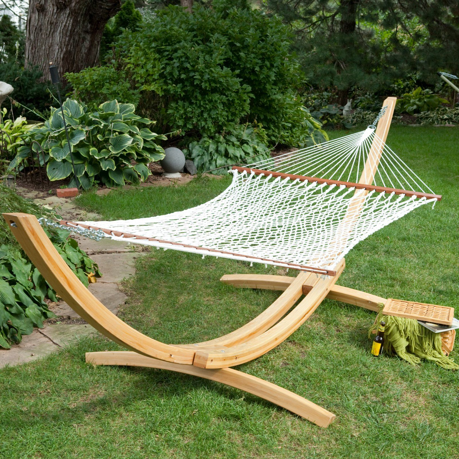 island bay xl rope hammock with cypress wood arc stand island bay xl rope hammock with cypress wood arc stand   for the      rh   pinterest
