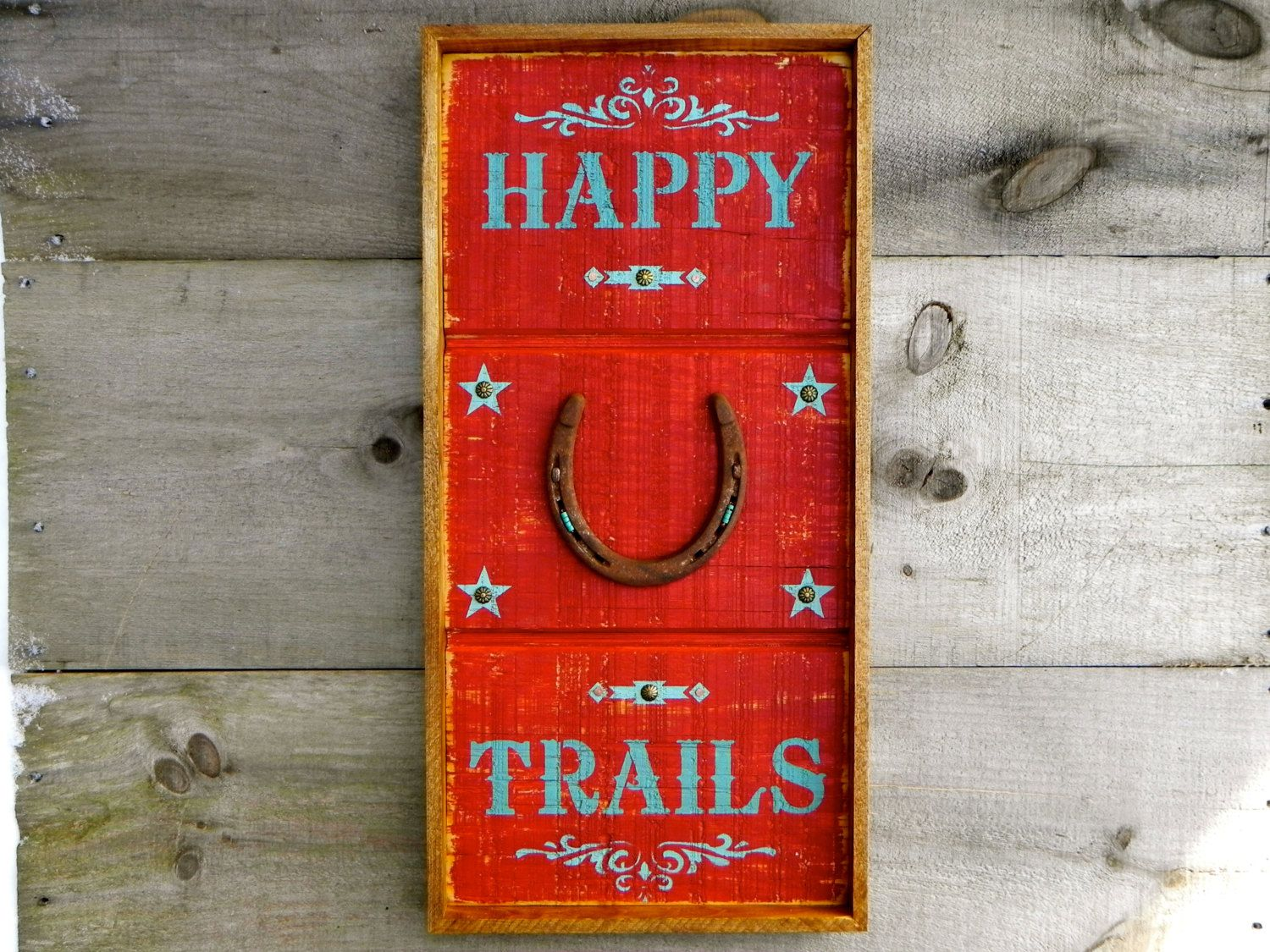 Western Signs and Home Decor, Wood Signs, Wall Decor, Rustic Country Sign, Happy Trails, Horse Decor, Horse Shoe, Turquoise, Framed Wall Art by CrowBarDsigns on Etsy https://www.etsy.com/listing/177878337/western-signs-and-home-decor-wood-signs