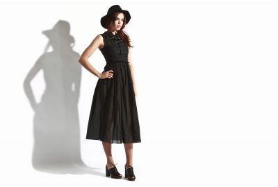 Costume Dept. - Women's Silk Collared Dress (Black)