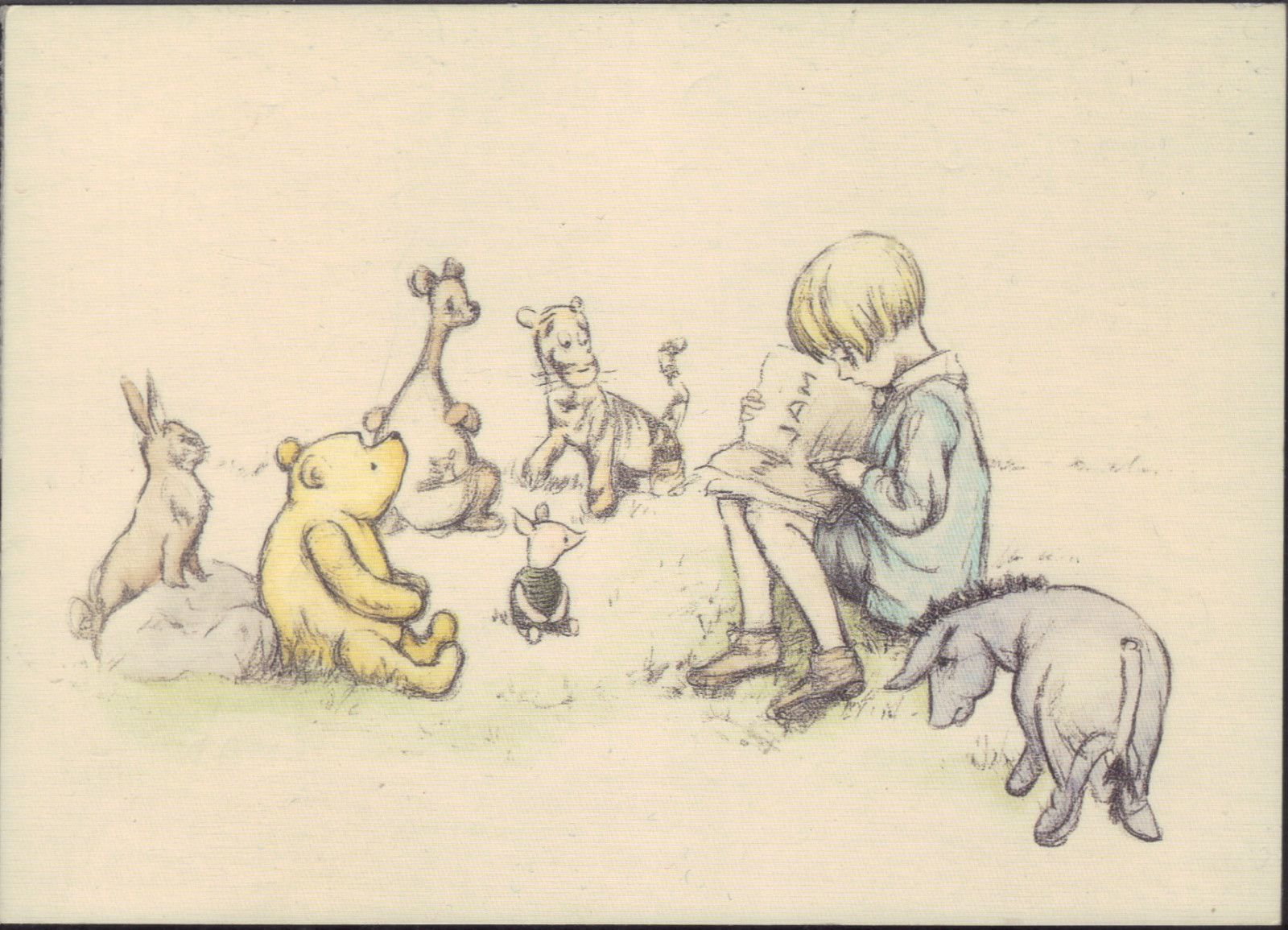 Winnie the Pooh with Christopher Robin of E.H Shepard Pencil Drawing Nursery