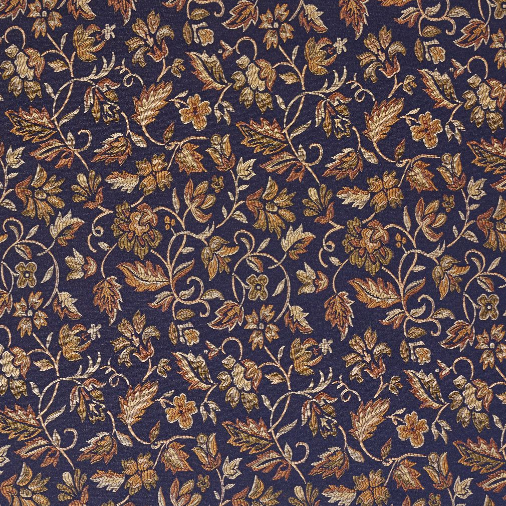 Fl Navy Blue Yellow And Green Damask Upholstery Fabric By The