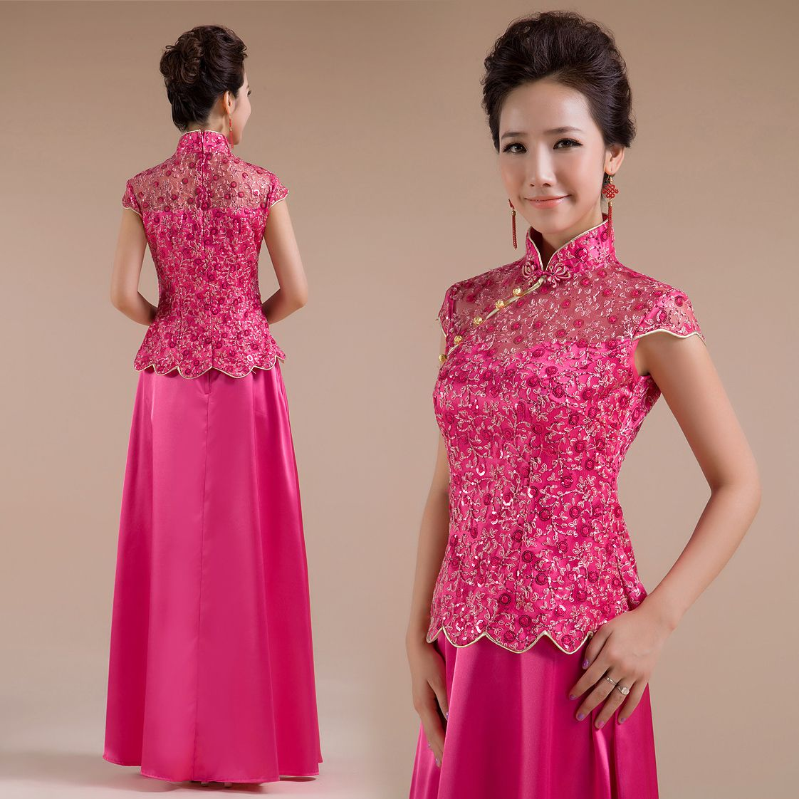 pink cheongsam dress - Google Search | My Closet | Pinterest