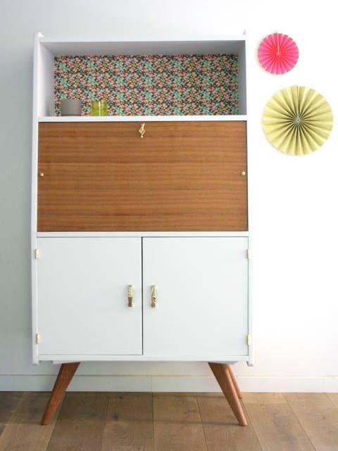 bureau vintage pieds compas r nov et relook par les jolis meubles bureaux secr taires. Black Bedroom Furniture Sets. Home Design Ideas