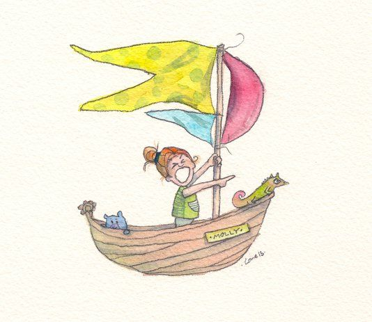 Girl In Boat, 2013. Watercolor by Lone Aabrink ( www.aabrink.dk )
