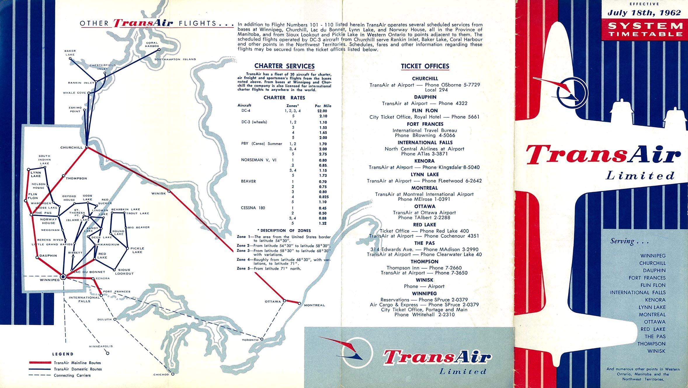 Transair Canada timetable 1962 Airlines, Kenora