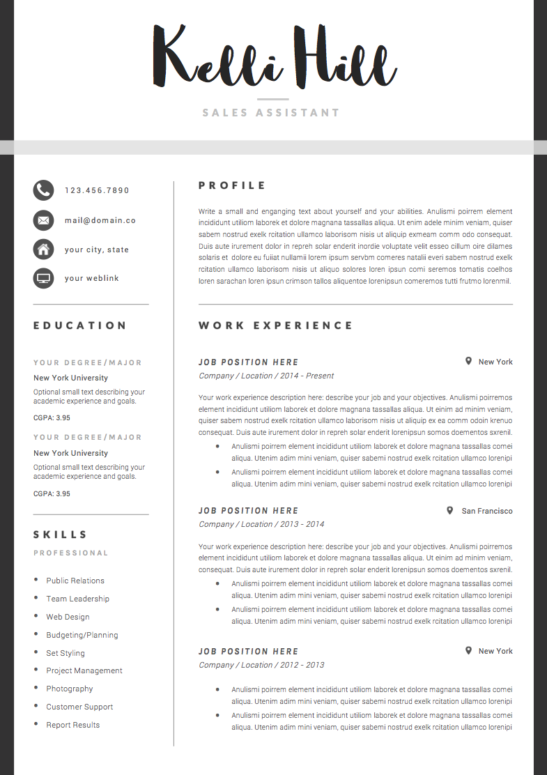 Resume Template 4page | Jolie by The.Resume.Boutique on ...