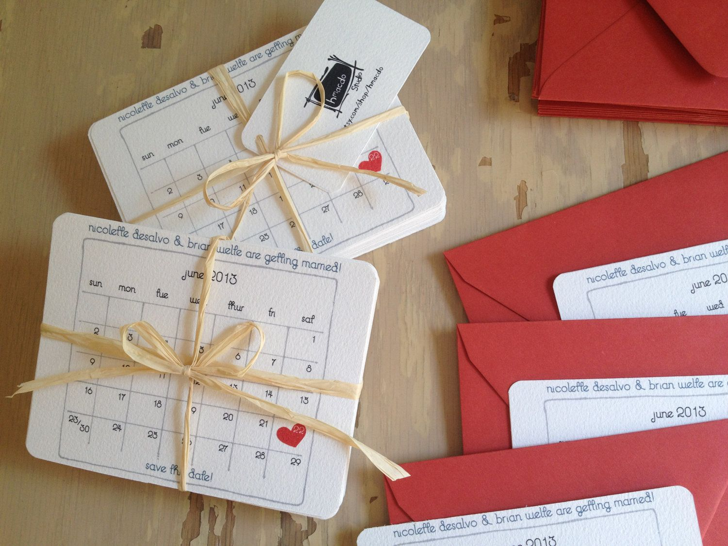 Wedding Save the Date - Calendar with Red Heart. $1.50, via Etsy ...