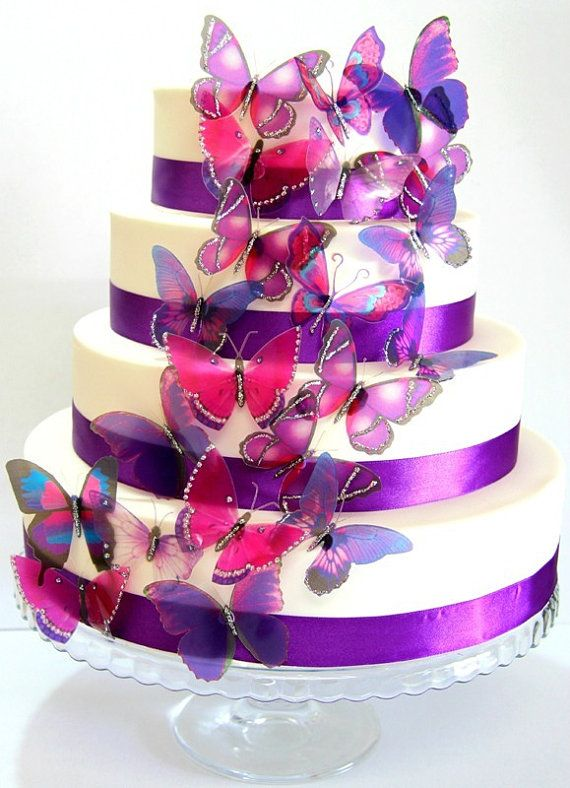 12 X Mixed Purple Stick On Erflies Wedding Cake Toppers Erfly Decorations