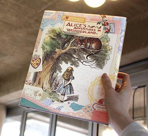 Vintage Collage Photo Album - Alice's Adventures In Wonderland - Chesire Cat