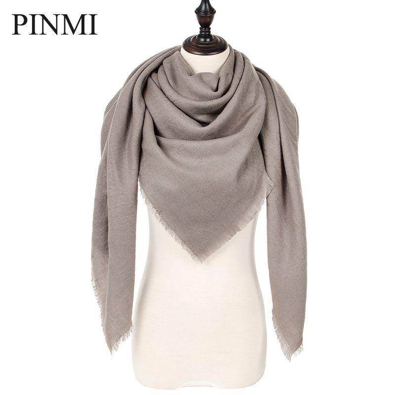 c00d86b0d886 PINMI Nieuwe Warme Winter Sjaal Mode Vrouwen Sjaal Luxe Merk Dames Kasjmier  Sjaals Wraps Herfst Driehoek Bufanda Groothandel