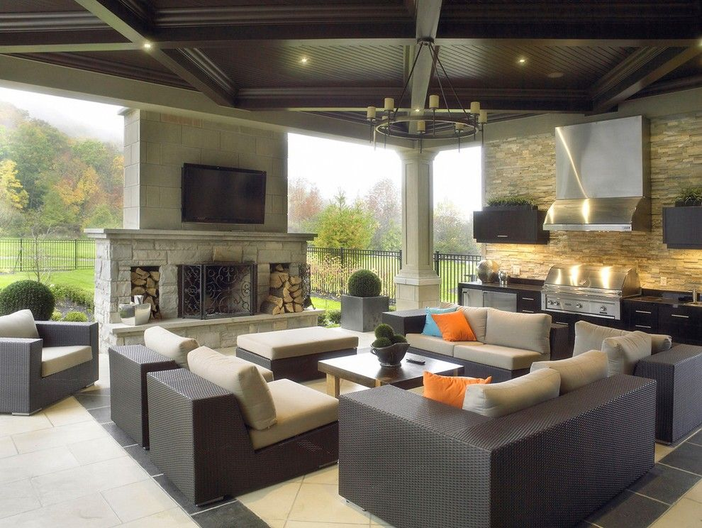 outdoor entertainment area lounge outdoor bbq outdoor fireplace outdoor tv on outdoor kitchen tv id=69363