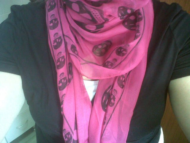 My new Alexander McQueen chiffon skull scarf. I'm a tad obsessed.