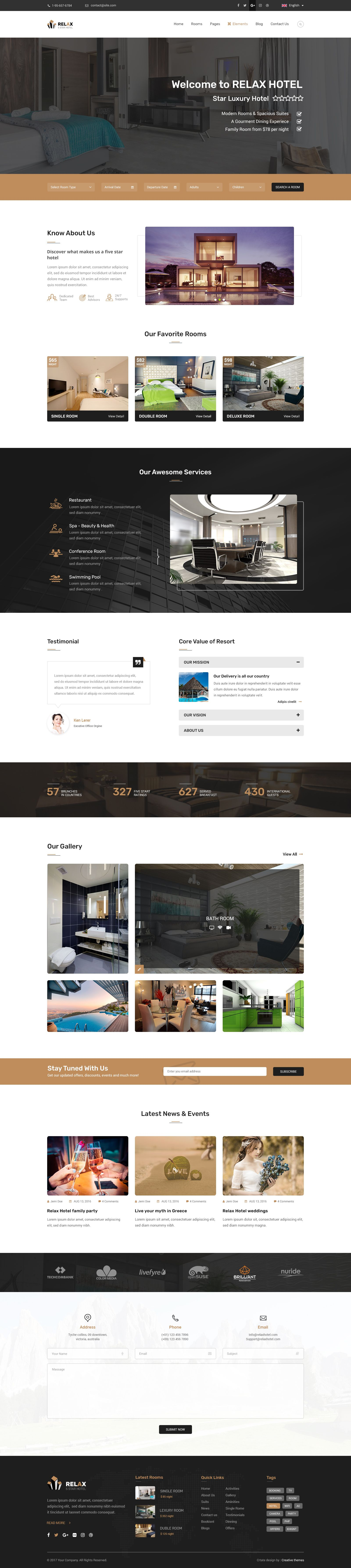 Hotel Relax for Reservation, Resort and Spa PSD Template | Psd ...
