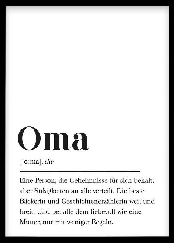 Oma Definition, Geschenk für Großmutter, Geschenk für Großeltern, Omas Geburtstagsgeschenk, Poster mit Text, skandinavisch schwarz und weiß