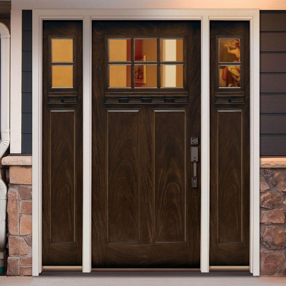 Delightful Feather River Doors 67.5 In.x81.625 In. 6 Lt Clear Craftsman Stained  Chestnut Mahogany Right Hand Fiberglass Prehung Front Door W/ Sidelites, ...
