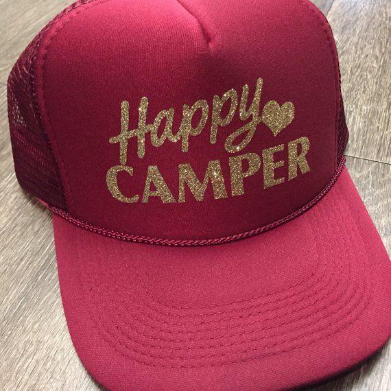 7a3b80e4e8a Happy camper-camping trucker hat-glitter trucker hat-summer hat-camp ...