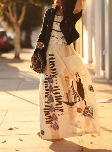 knotted shirt, long skirt, cropped jacket!