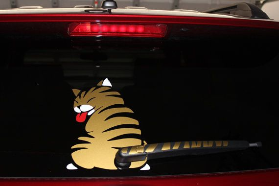 Listing for uk residents only cat wiper decal funny car decal cute cat wiper decal rear wiper cat wagging decal cat car sticker