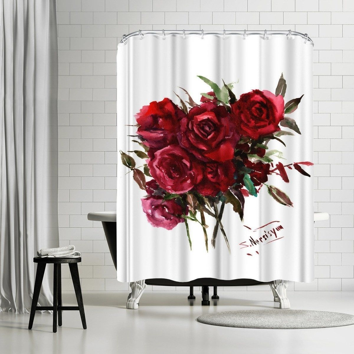 Americanflat 'Deep Red Burgundy Roses' Shower Curtain