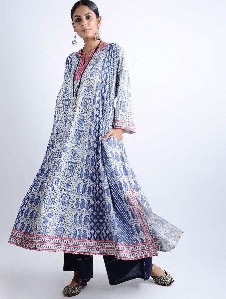 55ea46974a5f8 Buy Blue White Block printed Cotton Kaftan Kurta Women Kurtas Neel  Undulating prints and delicate embroidery on Chanderi separates awash in  shades of Online ...