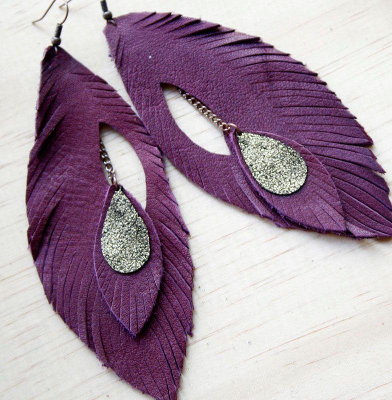Leather Feather Earrings. Rich Plum. Bohemian Jewelry ...