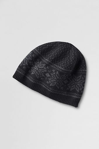 Men's Knit Fair Isle Beanie from Lands' End | Land's End ...