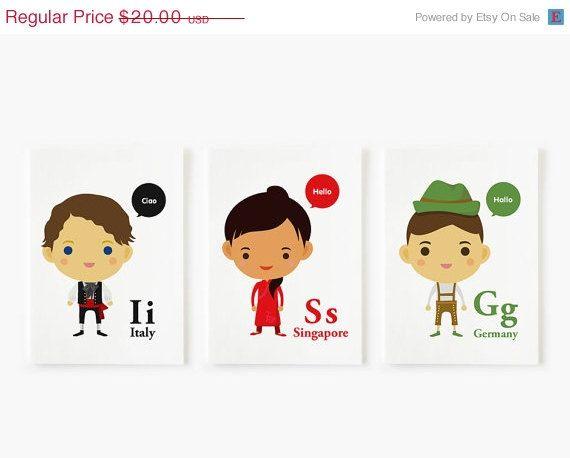 SALE 20 OFF Children Decor Alphabet AZ Children Of The by loopzart, $16.00