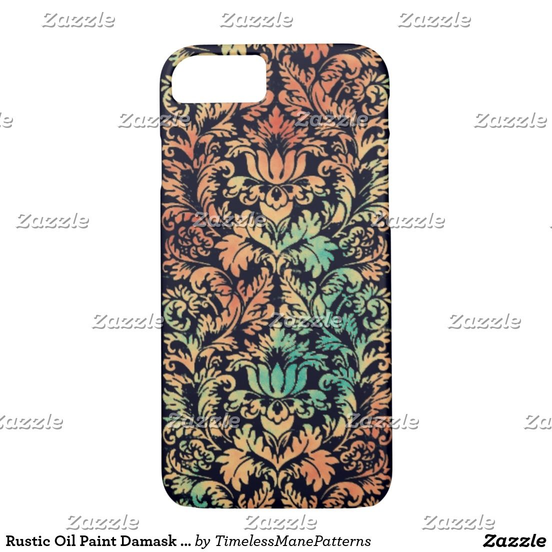 Rustic Oil Paint Damask Red Rust and Patina Green iPhone 7 Case